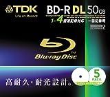 TDK データ用ブルーレイディスク 50GB BD-R(1回録画用) 4X ホワイトワイドプリンタブル 5mmケース 5枚パック BRD50PWB5S