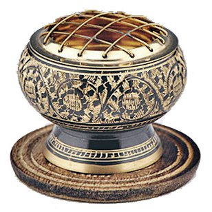 Small Decorated Brass Charcoal Screen Incense Burner