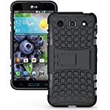 Heartly Flip Kick Stand Hard Dual Armor Hybrid Rugged Bumper Back Case Cover For LG Optimus G Pro F240 E985 E988 - Rugged Black