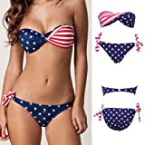 NewNow Two-Piece Stars and Stripes Padded Twisted Bandeau Tube American Flag Swimwear Bikini BRA S M L