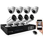Amcrest Full-HD 1080P 8CH Video Security System - Eight 1920TVL 2.1-Megapixel Weatherproof IP66 Dome and Bullet Cameras, 65ft IR LED Night Vision, 3TB HDD, HD Over Analog/BNC, Smartphone View (White)