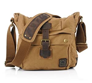 Kattee Unisex Vintage Canvas + Real Leather Shoulder Messenger Bag Fit Ipad from Kattee