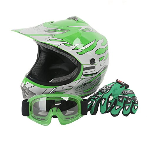 XFMT Youth Kids Motocross Offroad Street Dirt Bike Helmet Goggles Gloves Atv Mx Helmet Green Flame L (Youth Full Face Helmets compare prices)