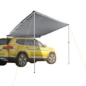 DANCHEL OUTDOOR Side Awning for Car SUV Color Grey Size 8.2x6.5ft