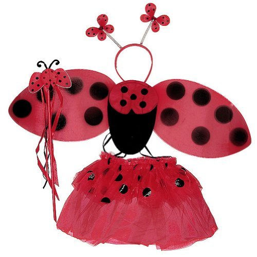 Girls Ladybug 4 Piece Tutu Set (Red & Black, One Size)