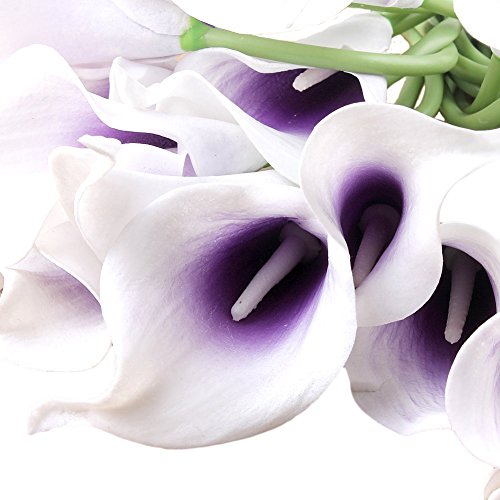 Wuudi 20pcs Calla Lily Bridal Wedding Bouquet head Latex Real Touch Flower Bouquets