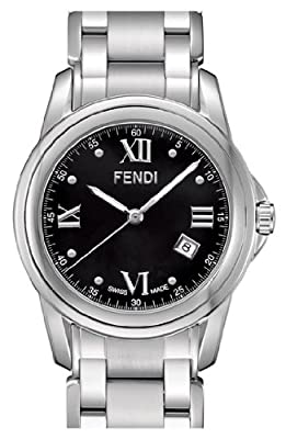 Fendi Loop Large Round Black Dial and Bracelet Quartz Watch - F235110