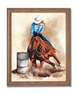 Western Rodeo Cowgirl Barrel Racer Hat Horse Animal Home Decor Wall Picture Oak Framed Art Print