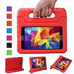 NEWSTYLE Shockproof Light Weight Kids Case with Protection Cover Handle and Stand for Samsung Galaxy Tab 4 7-inch, SM-T230, SM-T231, SM-T235 - Red