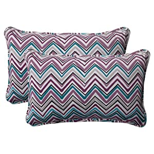 Pillow Perfect Indoor/Outdoor Cosmo Chevron Corded Rectangular Throw Pillow, Amethyst, Set of 2 by Pillow Perfect