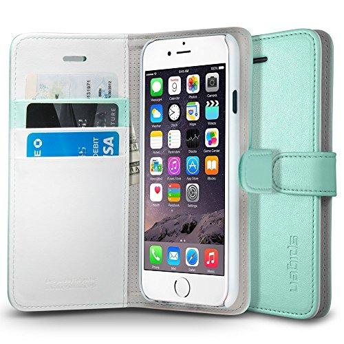 SpigeniPhone6s ケース / iphone6 ケース レザー手帳型ケース ウォレットS (ミント SGP03382)