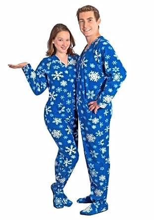 Adult Footies Snowflakes Blue Fleece Drop Seat Footed Pajamas - CLEARANCE, 10