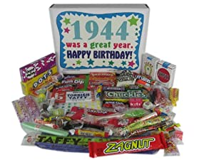 70th Birthday Gift Basket Box 1944 - Retro Nostalgic Candy