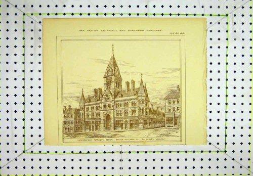 1878 Huddersfield Market Sketch Kings Street Hughes