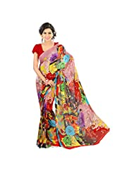 Admyrin Multi Colour Georgette Saree With Red Blouse Piece - B00VR7Z9NS