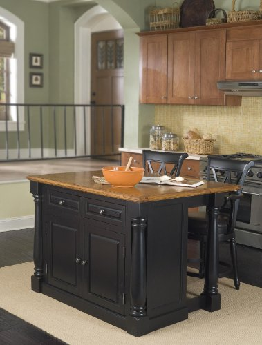 Cheap Monarch Kitchen Island and Two Stools (5008-948)