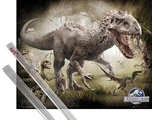 Poster + Suspension : Jurassic World Mini Poster (50x40 cm) Raptors et kit de fixation 1art1�