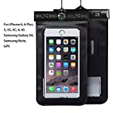 Waterproof Phone Case, Asstar Cellphone Waterproof Dry Bag Case Pouch with Compass Locate for Universal Waterproof Case for iPhone 6S SE 5S Galaxy S5 S4 S3 (Black)