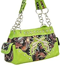Hot Sale Lime Green Camo Fashion Double Pistol Purse Wtih Rhinestones