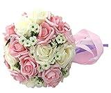 Amazon.co.jpウェディングブーケ ブライダル 結婚式 お祝い 造花 薔薇 白 ピンク フラワー