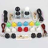 EG Starts Classic 2 Player Sanwa Arcade Video Games Kit DIY Bundle for PC Joystick & Raspberry Pi RetroPie DIY Projects & Mame Jamma Parts - White + Black Stick + 16x OBSF- 30 MIX Colors Buttons