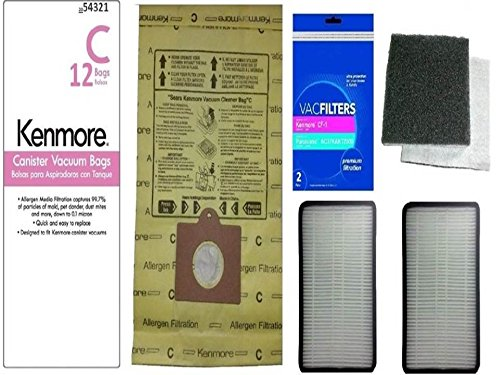 12 Kenmore Type C or Type Q Premium Allergen Canister Vacuum Bags, (2) Kenmore CF1 81002 Motor Chamber Filter, (2) Kenmore EF1 86889 HEPA Exhaust Filters, Fits Progressive, Intuition, Canisters (Sears Q C Vacuum Bags compare prices)