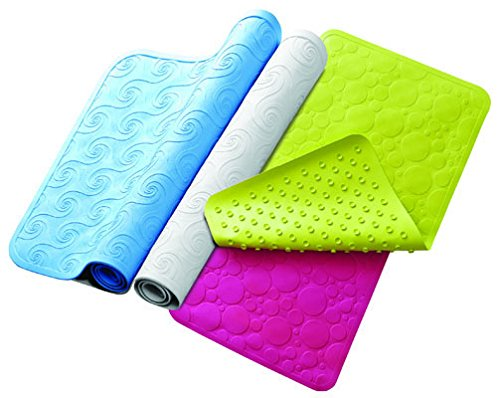 "RMS Anti Slip Long Bath Mat for Bathtub with Suction Grip 28""L X 16""W (Green Bubble)"