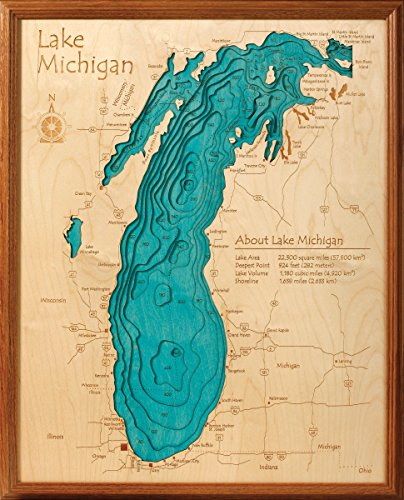 Lake Tahoe in Placer El Dorado Washoe NV Douglas NV Carson City NV, CA NV - 3D Map 16 x 20 IN - Laser carved wood nautical chart and topographic depth map. (Lake Tahoe Wood Chart compare prices)