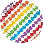 """Unique 7"""" Rainbow Party Plates (16 Co..."""