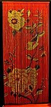 Bamboo Beaded Curtain Peony Flowers Decor Natural Door Way