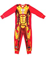 Kids Boys 100% Cotton Marvel Character Iron Man Onesies Pyjamas All In One Pj's Size 3 - 10 Years