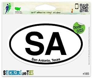 Amazoncom sa san antonio teas oval vinyl car bumper for Vinyl lettering san antonio