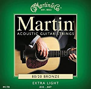 Martin Gitarrensaiten für Akustikgitarren (80/20, Bronzeumwicklung, Stärke Extra Light 0.010 - 0.047)