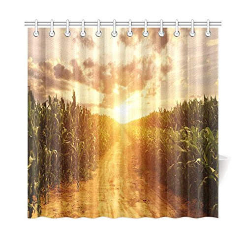 InterestPrint Corn Field Home Decor, Autumn Skyline Polyester Fabric Shower Curtain Bathroom Sets with Hooks 72 X 72 Inches (Fabric With Corn Design compare prices)