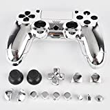 3CLeader® Case Cover Shell Skin for PS4 DualShock 4 Controller with Buttons Chrome Plating Color Silver
