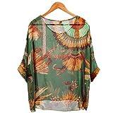 5859 Bohemian Boho Hippie Damen Chiffon Schulterfrei Batwing Bluse Shirt Top