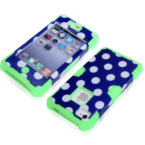 Magicsky Plastic + Silicone Hybrid Blue Polka Dot Pattern Active Glow Case For Apple Iphone 4 4S 4G - 1 Pack - Retail Packaging - Green/Dark Blue