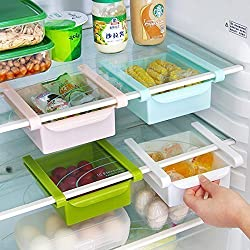 Woogor Set Of 2 Pc Multi Purpose Fridge Storage Racks, Shelf For Easily Maintaining Your Extra Meals,Double Up Your Space In Refrigerator With Easily Organizable Tray - ( Random Colors)