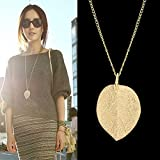 Feelontop® Costume Jewelry Gold Color Alloy Leaf Design Pendant Necklace for Women with Jewelry Pouch