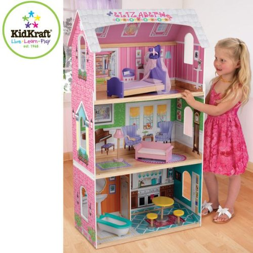 Kidkraft My Very Own Dollhouse With Bed Bed Canopy Sofa Floor Lamp Bathtub Bistro Table & 2 Chairs front-1062153