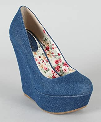 Amazon.com: Breckelle Cilo-11 Denim Round Toe Platform Wedge Blue (11