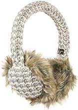 KitSound Audio Ohrenschützer Ohrenwärmer Chunky Knit Strick mit flauschigem Fell, Integrierten Kopfhörern und 3,5 Audiokabel mit In-Line Mikrofon für iPod, iPhone, iPad, Smartphone, Tablet und MP3 Player