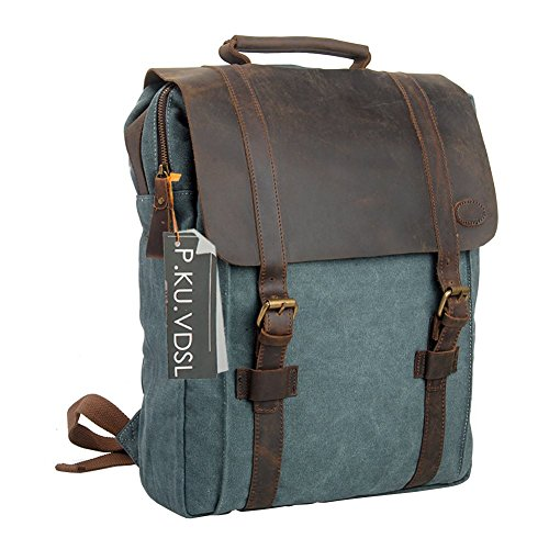 Canvas-Backpack-PKUVDSL-Laptop-Backpack-Vintage-Canvas-Backpack-Casual-Daypacks-Retro-Rucksack-Travel-Bags-Genuine-Leather-Shoulder-Bag-for-Men-Outdoor-Sports-Recreation-Fit-15-Laptop
