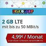 discoSURF Internet-Flat 2 GB LTE [SIM, Micro-SIM und Nano-SIM] 24 Monate Vertragslaufzeit (2 GB LTE mit max. 50 MBit/s, 4,99 Euro/Monat in den ersten 12 Monaten, danach 9,99 Euro / Monat ) O2-Netz