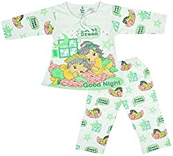 Kuchipoo Baby-Girls Top and Pyjama Set (KUC-NST-110_12-18 Months, Green, 12-18 Months)