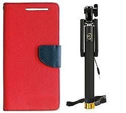 Novo Style Book Style Folio Wallet Case Samsung Galaxy S DousS7562 Red + Wired Selfie Stick No Battery Charging Premium Sturdy Design Best Pocket SizedSelfie Stick