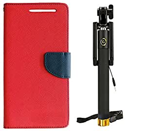 Novo Style Wallet Case Cover For Micromax YU Yuphoria YU5010 Red + Wired Selfie Stick No Battery Charging Premium Sturdy Design Best Pocket Sized Selfie Stick