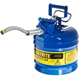 "Justrite AccuFlow 7220320 Type II Galvanized Steel Safety Can with 5/8"" Flexible Spout, 2 Gallons Capacity, Blue"