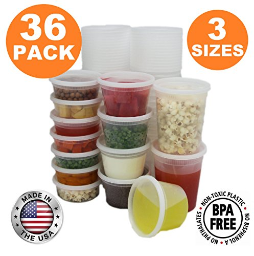Food Storage Containers with Lids, Round Plastic Deli Cups, US Made, 8, 16, 32 oz, Cup Pint Quart Size, Leak Proof, Airtight, Microwave & Dishwasher Safe, Stackable, Reusable, White [36 Pack] (Deli Containers Quart compare prices)