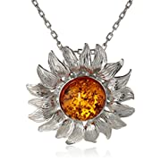 Honey Amber Sterling Silver Sunflower Pendant Necklace,18""